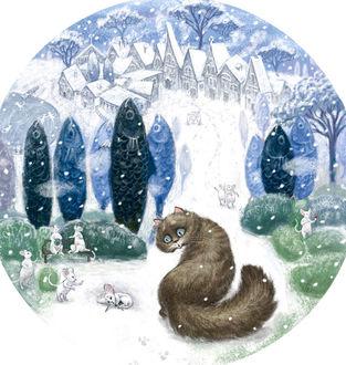 Фото Кошка смотрит на мышь, лежащую на снегу, by Elena Iv