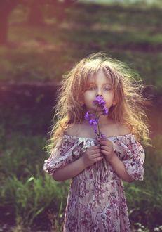 Фото Девочка-милашка с цветами у лица, фотограф Kristina Zakrzhevskaya