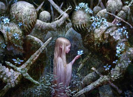 Фото Девочка с цветочком стоит среди каменных рыцарей с мечами, by SebMcKinnon