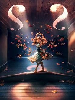 Фото Девочка в танце под падающей осенней листвой, by AquaSixio