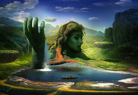 Фото Работа долина цветов, голова девушки у озера и рука с водопадом, by ElenaDudina