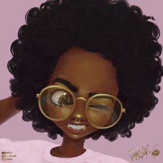Фото Девушка в очках и золотыми клыками подмигивает, by JoAsLiN