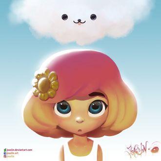 Фото Голубоглазая девочка с цветком на голове над белым облачком, by JoAsLiN
