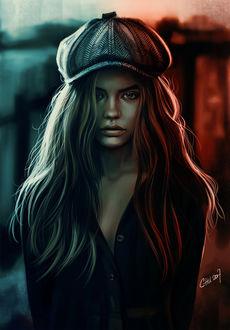 Фото Девушка с длинными волосами в фуражке, by Vincent Chu