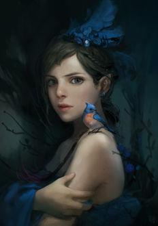 Фото Девушка с голубой птицей на плече, by Mijung Kim