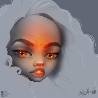 Фото Белокурая девушка с оранжевым оттенком на лице, by JoAsLiN