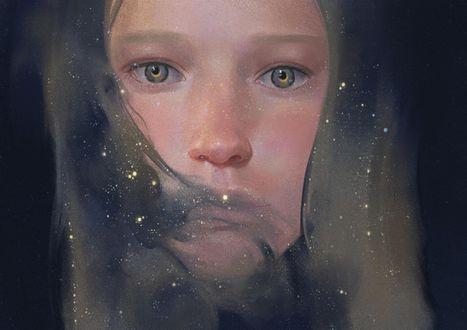 Фото Портрет девушки с месяцами в глазах, со звездами на лице и в волосах, art by zhongxiayou
