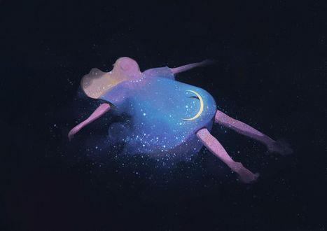 Фото Белокурая девушка в платье с месяцем на юбке, раскинув руки, лежит в звездном небе, art by zhongxiayou