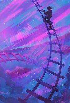 Фото Девушка поднимается по лестнице в небо