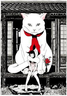 Фото Девушка и огромная белая кошка сидят на крыльце дома, by Yusuke Nakamura
