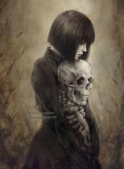 Фото Девушка обнимает скелет, by NanFe