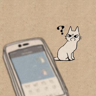 Фото Возмущенный кот сидит рядом с телефоном