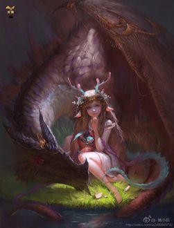 Фото Рогатая девушка держит на руках маленького дракончика, сидя рядом с его мамой, by GjschoolArt