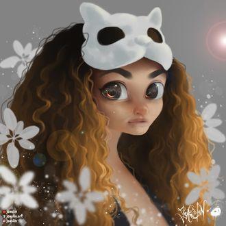 Фото Длинноволосая девушка с белой маской на голове, by JoAsLiN