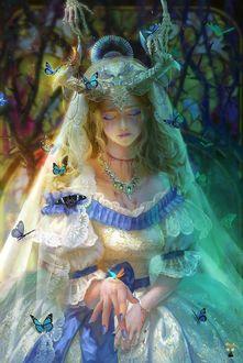 Фото Костяные руки тянутся к девушке, одетой в белое платье, на котором сидят бабочки, и фату, by GjschoolArt