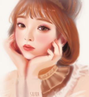 Фото Милая девушка с каштановыми волосами, by Suikacchii