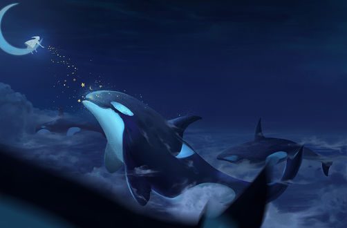 Фото Дельфины в небе перед девочкой на луне, которая рассыпает звезды