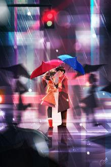 Фото Девушка с парнем прячутся под зонтами от дождя стоя на улице и глядя друг другу в глаза, art by Violet1202
