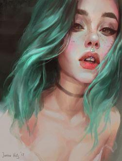 Фото Девушка с бирюзовыми волосами, by Junica-Hots
