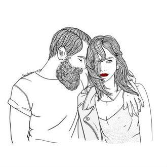 Фото Бородатый парень обнимает девушку