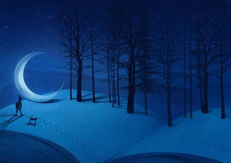 Фото Парень с кошкой идут по снегу, расположенному на открытой книге с деревьями и месяцем