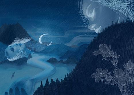 Фото Оригинальное изображение влюбленных-девушка окутана туманом и парень, смотрящий на нее