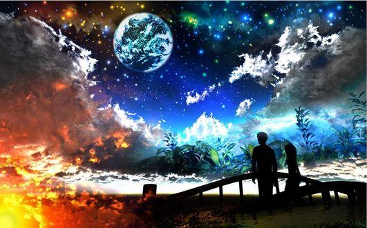 Фото Влюбленные на фоне облачного неба