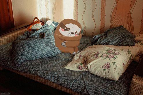 Фото Грустный рисованный ленивец сидит на кровати, by Влад Капичай