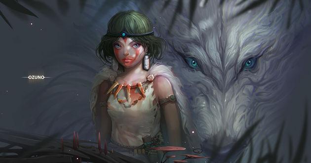 Фото Princess Mononoke / Принцесса Мононоке на фоне морды волка с бирюзовыми глазами, by Huy Ozuno