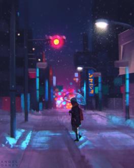 Фото Школьник с зонтом на вечерней улице, by AngelGanev