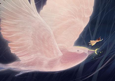 Фото Птица с месяцем в клюве и над ним парит девочка
