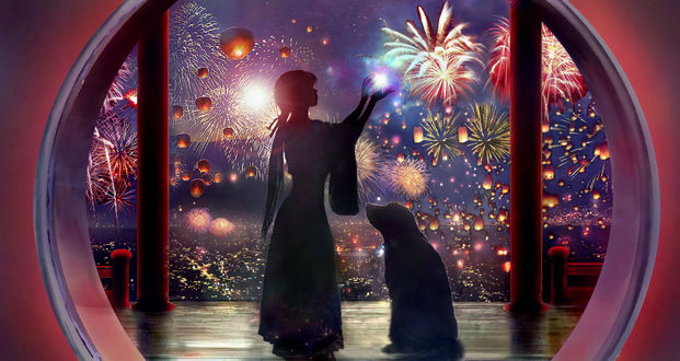Фото Девушка и собака на фоне фейерверков и летящих фонариков, by 00