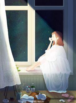 Фото Девочка сидит на подоконнике окна, на полу стоят баночки с цветами, спит котенок, лежит открытая книга, чашка, тапочки
