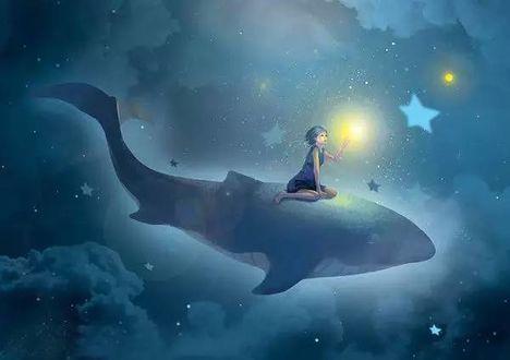 Фото Девочка на ките парит в облачном ночном небе со звездами
