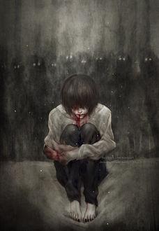 Фото Окровавленный мальчик, позади которого темные сущности, сидит на кровати, обняв себя руками, by NanFe