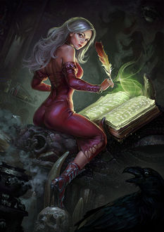 Фото Девушка, сидя на голове дракона, пишет пером в магическую книгу, by Igor Grechanyi