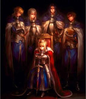 Фото Сейбер / Saber с мечом в короне сидит на троне, четыре рыцаря стоят за ней, из аниме Судьба: Начало / Fate / Zero