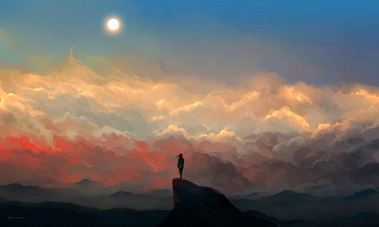 Девушка на вершине горы на фоне закатного неба, by 3hil