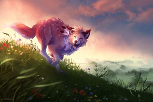 Фото Счастливый волк с перьями за ухом бегает по траве, by Verlidaine