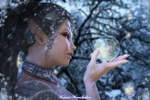 Фото Эльфийка смотрит на магический шар, by KaanaMoonshadow