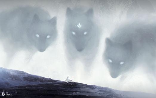 Фото Девушка, одетая в белый плащ, стоит перед тремя огромными волками-духами, by 3hil