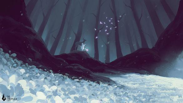 Фото Девушка в белом плаще с посохом в руке сотворила магией птиц, рядом стоит олень, by 3hil