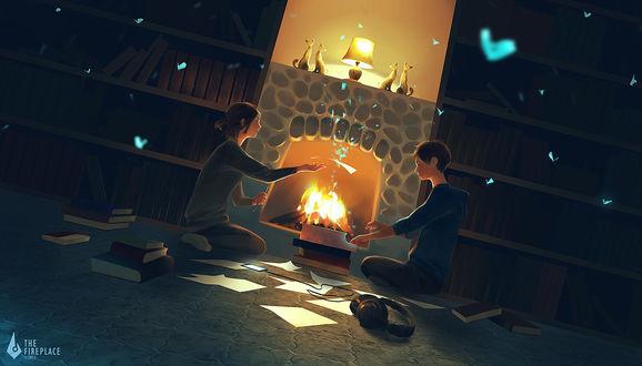 Фото Девушка и парень возле горящего камина, by 3hil