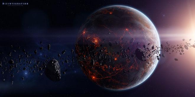 Фото Disintegration / Распад, на фоне летящих астероидов, by GabrielGajdos