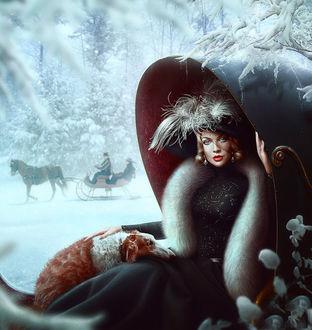 Фото Дама в шляпке с перьями и платье, отделанном соболем, сидит в роскошных санях на фоне зимнего пейзажа, фотохудожник Максим Ларионов