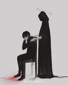 Фото Позади плачущего парня, сидящего на стуле, стоит смерть, by Aoi Ogata