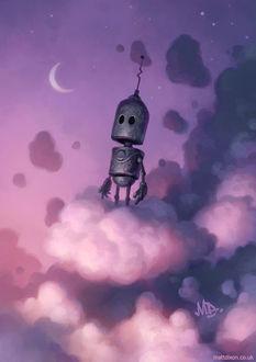 Фото Робот на облаке в ночном небе, by MattDixon