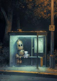 Фото Робот с белым плюшевым мишкой сидят на остановке, by MattDixon