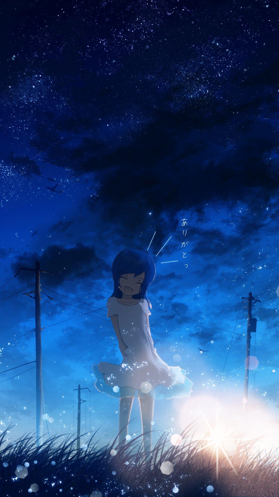 Фото Девочка с голубыми волосами, в белом платье стоит на фоне ночного неба, by Y_Y