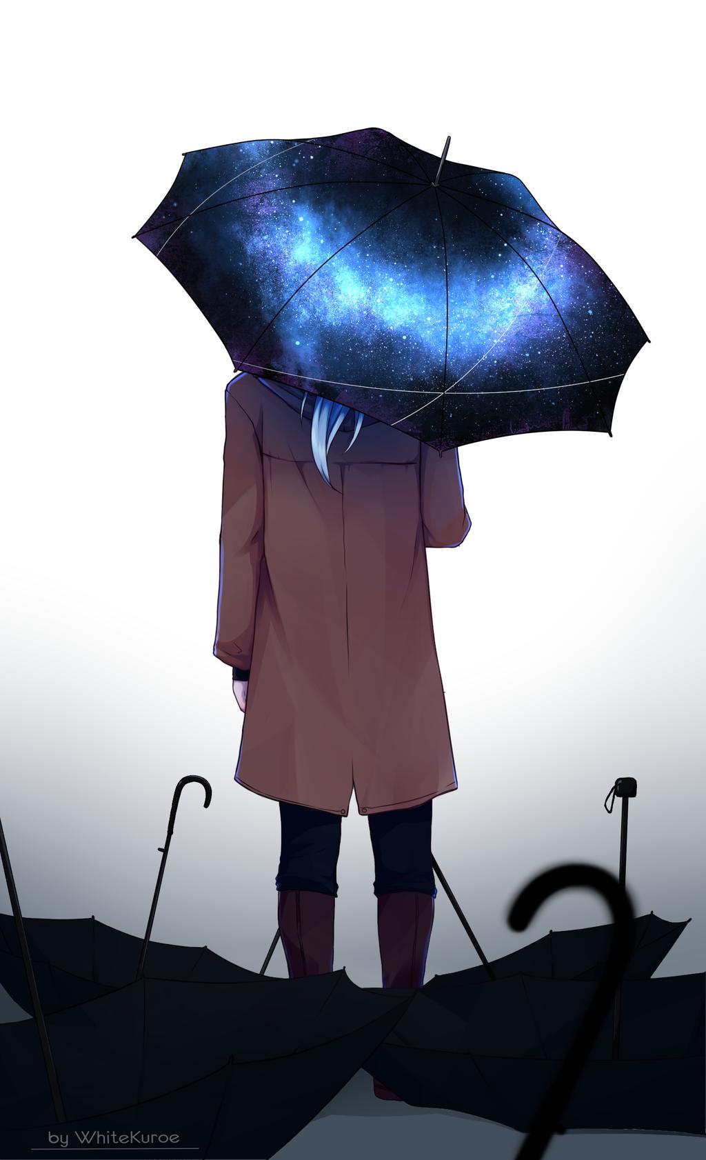 Картинка человека стоящего спиной под зонтом хочется выстричь